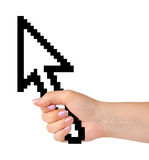 Computer cursor in hand. Isolated on white background Stock Photo
