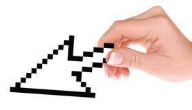 Computer cursor in hand vector illustration