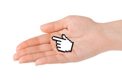 Computer cursor in hand. Isolated on white background Stock Photos