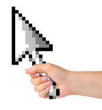 Computer cursor in hand Royalty Free Stock Photography