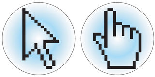 Computer cursor icons. A hand and arrow cursor - additional ai and eps format available on request Royalty Free Stock Photography