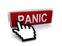 Computer Cursor and Panic Key. A computer cursor or hand symbol is pushing a red panic key or button Stock Photography