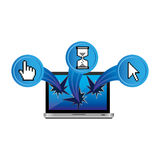 Computer with cursors outside icon. Illustraction design Stock Photos