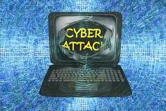 Computer cyber aanval, conceptueel beeld Royalty-vrije Stock Foto