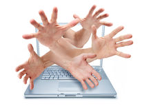Computer Cyber Bullying Hands Security Theft  Stock Photo