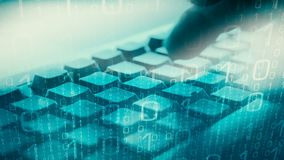 Computer cyber thief, stolen secret data vector illustration