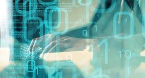 Computer cyber veiligheid, toekomst van technologie stock foto