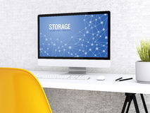 computer 3d con la parola STOCCAGGIO illustrazione vettoriale