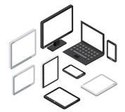 Computer 3d e computer portatile isometrici, icone di vettore dello smartphone del pc della compressa Immagine Stock