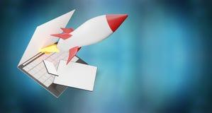 Computer 3d-illustration della compressa del telefono di schermo di computer di inizio di Rocket royalty illustrazione gratis