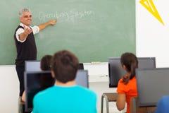 Computer d'istruzione dell'insegnante Immagine Stock Libera da Diritti
