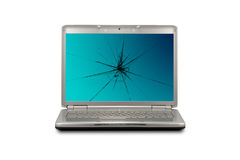 Computer with damaged  screen Royalty Free Stock Photo