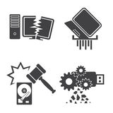 Computer Data Damaged icons set Royalty Free Stock Images