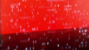 Computer data error. Glitched and flashing computer red screen shooted with depth of field bokeh effect, with program code stock illustration