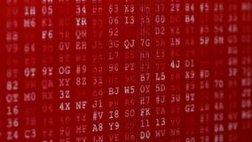 Computer data error. Glitched and flashing computer red screen with depth of field bokeh effect, with program code vector illustration