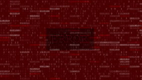 Computer data error. Glitched and flashing computer red screen with program code after program fault with big blinked ERROR title royalty free illustration