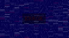 Computer Data Error. Glitched and shaked computer blue screen with program code after program fault and error with big blinked ERROR title royalty free illustration