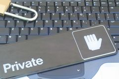 Computer Data Privacy & Security. This is an image of a computer keyboard with a padlock and privacy sign stock photos