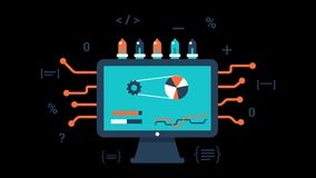Computer data processing animation transparent vector motion graphics loop