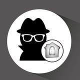 Computer data protection thief lock icon Stock Image