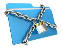 Computer data security concept. Computer folder with with chain and padlock Stock Photography