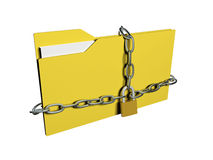 Computer data security concept. Computer folder with with chain and padlock Stock Images