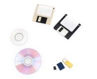 Computer data storage media. Set of computer data storage media floppy disks, CD/DVD,  flash drive Royalty Free Stock Photos