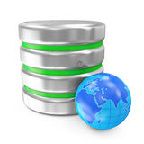 Computer Database with Miniature Earth Planet. On white background Royalty Free Stock Image