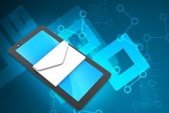 Computer della compressa con il email Fotografia Stock Libera da Diritti