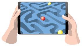Computer della compressa con il gioco Fotografia Stock Libera da Diritti