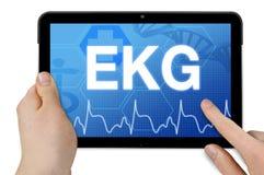 Computer della compressa con il questionario ridotto tedesco per ECG - elettrocardiogramma fotografie stock libere da diritti