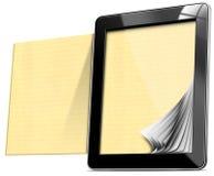 Computer della compressa con le pagine allineate Immagine Stock Libera da Diritti