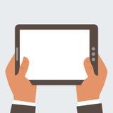 Computer della compressa della tenuta dell'uomo d'affari con l'SCR in bianco Fotografia Stock Libera da Diritti