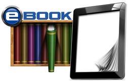 Computer della compressa - libro elettronico delle biblioteche Fotografia Stock
