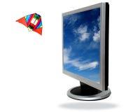 Computer des flachen Bildschirms Stockfotos
