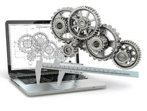 Computer-design engineering. Laptop, gear, trammel and draft. 3d stock illustration