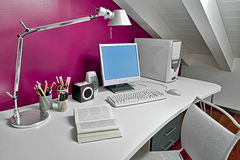 Computer on the desk stock images