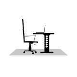 Computer desk black vector illustration. On a white background Royalty Free Stock Photography