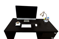 Computer Desk Coffe isolated over white Stock Photos