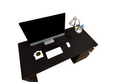 Computer Desk Coffe isolated over white Stock Photo