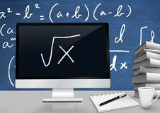 Computer at Desk foreground with blackboard graphics of math equations. Digital composite of Computer at Desk foreground with blackboard graphics of math Stock Photos