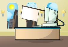 Computer desk holding a white flag stock photos