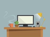 Computer desk. At home cartoon concept Royalty Free Stock Photography