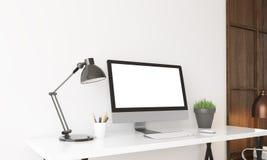 Computer on desk in home office. Modern computer on desk in home office. Lamp and potted plant on table. 3D render. Mock up royalty free illustration