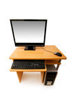 Computer and desk isolated Royalty Free Stock Photo