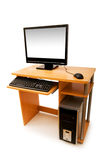 Computer and desk isolated Stock Image