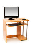 Computer and desk isolated Royalty Free Stock Image