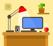 Computer desk vector Royalty Free Stock Images