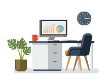 Computer desk workplace. Flat style vector illustration Royalty Free Stock Photography