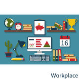 Computer desk, workplace. Interior workplace flat design. Vector illustration Stock Photo